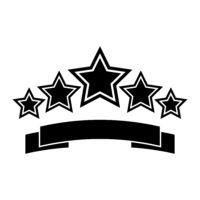 Six black stars over a ribbon